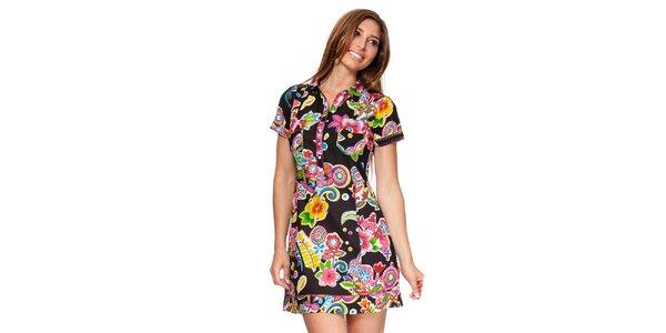 Dámské černé košilové šaty s květinami Kool