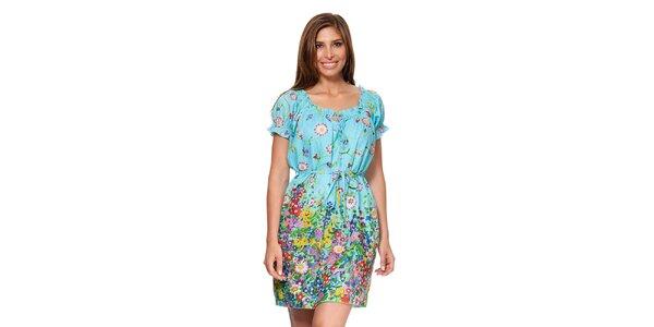 Dámské nebesky modré šaty s nabíraným výstřihem Kool