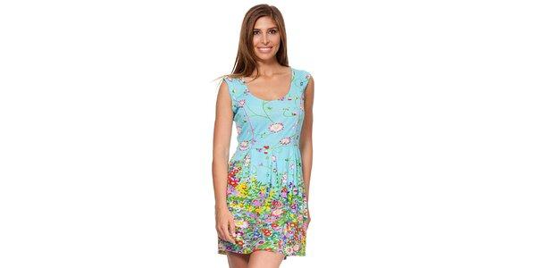 Dámské modré šaty s květinovým potiskem Kool