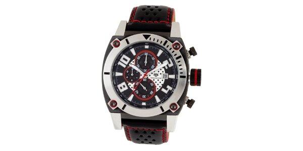 Pánské černé hodinky s červenými prvky Wellington