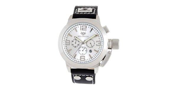 Pánské stříbrno-černé hodinky Wellington