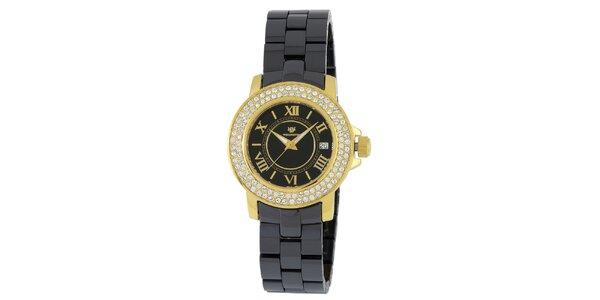 Dámské zlato-černé hodinky s římskými číslicemi a krystaly Wellington