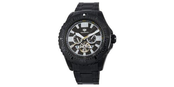 Pánské černé masivní hodinky s datumovkou Wellington