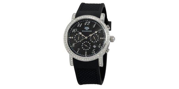 Dámské černé hodinky s černým silikonovým řemínkem Wellington