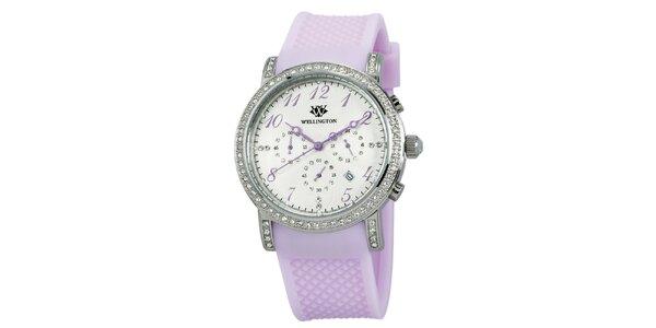 Dámské hodinky s krystaly a lila řemínkem Wellington