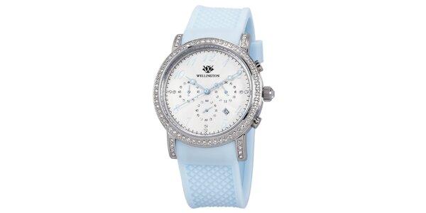 Dámské hodinky s krystaly a světle modrým řemínkem Wellington