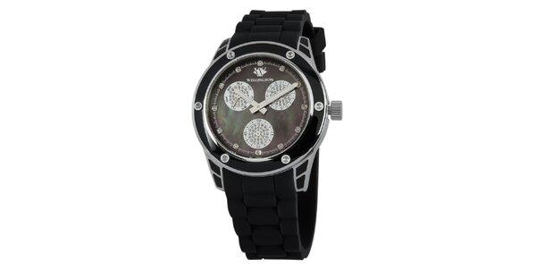 Dámské černé hodinky se stříbrnými prvky Wellington