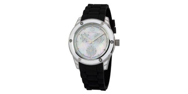 Dámské stříbrné hodinky s černým silikonovým řemínkem Wellington