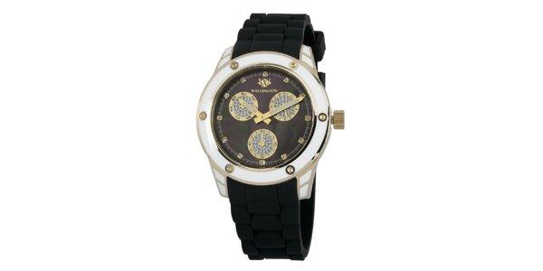 Dámské černé hodinky se zlatými prvky Wellington