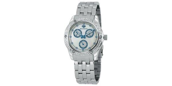 Dámské stříbrné hodinky s krystaly a modrými prvky Wellington