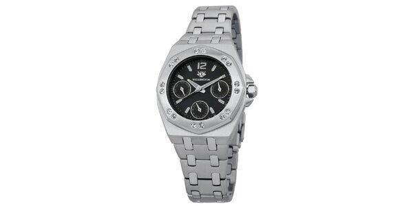Dámské stříbrné hodinky s černým ciferníkem krystaly Wellington