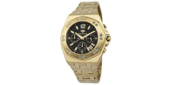 Pánské zlaté hodinky s černým ciferníkem a krystaly Wellington