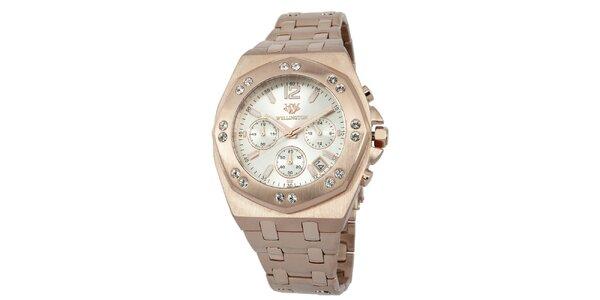 Pánské hodinky v barvě růžového zlata s bílým ciferníkem Wellington