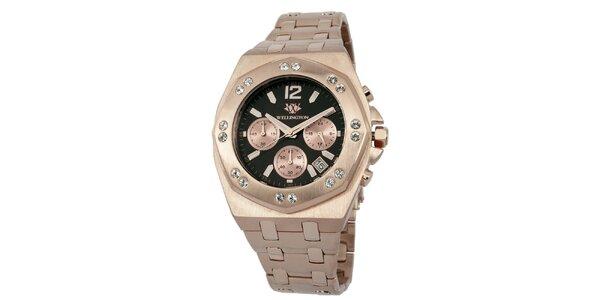 Pánské hodinky v barvě růžového zlata s černým ciferníkem Wellington