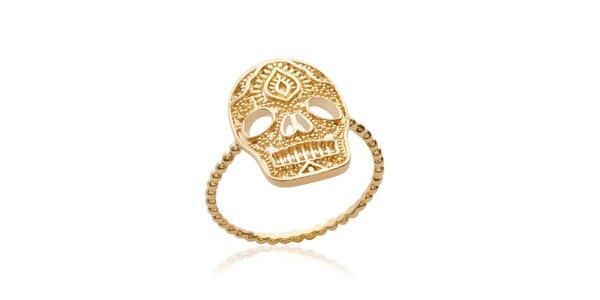 Dámský pozlacený prsten ve tvaru lebky Fifi Ange