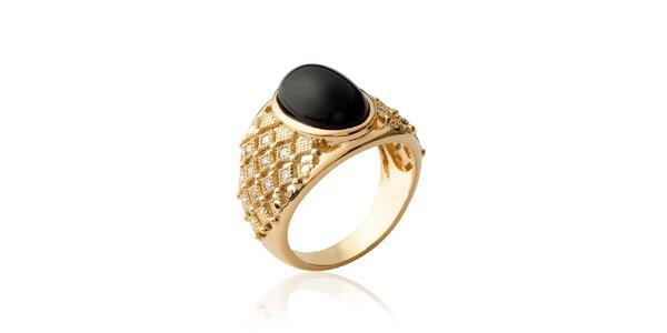 Dámský pozlacený prsten s černým kamenem Fifi Ange