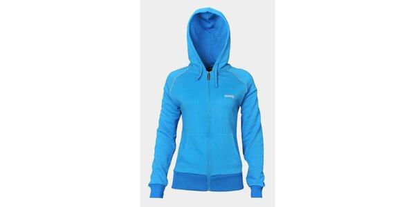 Dámská světle modrá sportovní mikina Sweep se zipem a kapucí