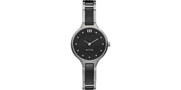 Dámské titanové černé hodinky s analogovým ciferníkem Danish Design