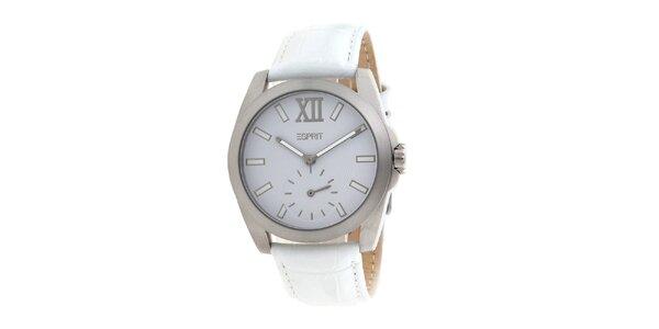 Dámské stříbrné hodinky s bílým řemínkem Esprit