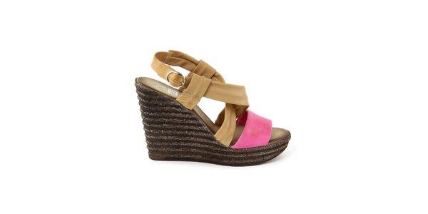 Dámské kožené béžovo-fuchsiové sandálky s širokými pásky Julie Julie