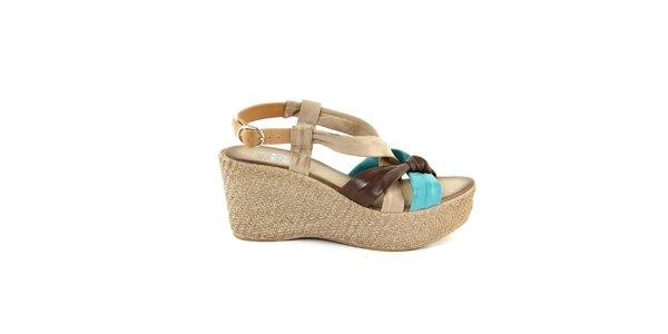 Dámské kožené hnědo-tyrkysové sandálky Julie Julie
