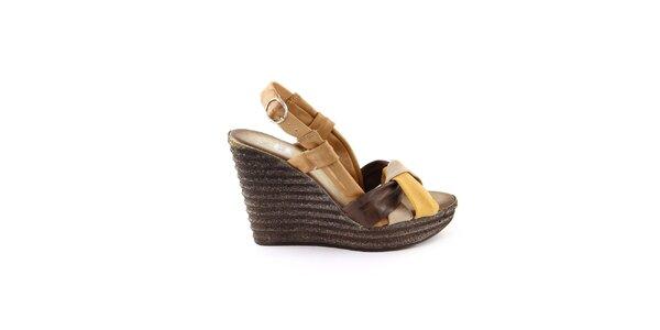 Dámské kožené hnědo-hořčicové sandálky Julie Julie
