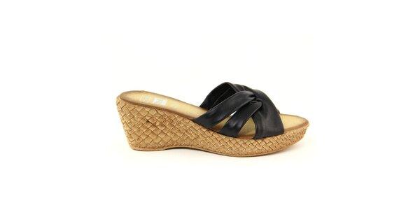 Dámské kožené černé nazouvací sandálky Julie Julie