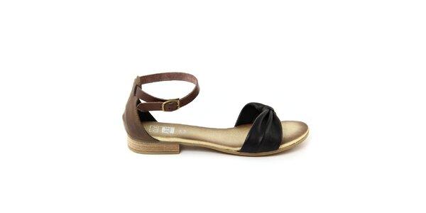 Dámské černé kožené sandálky s hnědým páskem Julie Julie