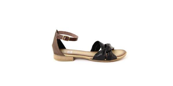 Dámské černo-hnědé kožené sandálky Julie Julie