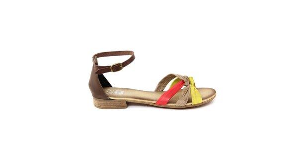 Dámské kožené sandálky s barevnými pásky Julie Julie