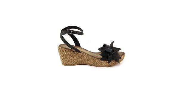 Dámské kožené černé sandálky s květem Julie Julie