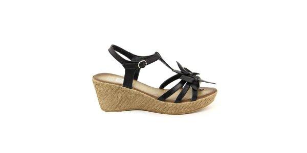 Dámské kožené černé páskové sandálky s květinou Julie Julie