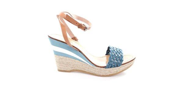 Dámské kožené modro-béžové sandály na podpatku U.S. Polo