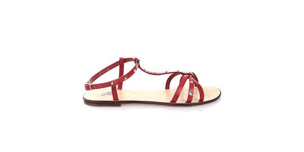 Dámské červené páskové kožené sandálky U.S. Polo