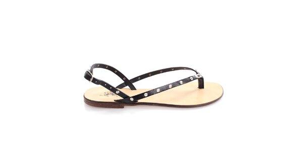 Dámské černé kožené páskové sandálky U.S. Polo