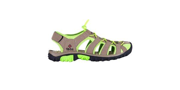Hnědé outdoorové sandály se zelenými prvky Izas