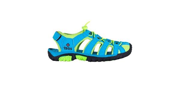 Tyrkysové outdoorové sandály se zelenými prvky Izas