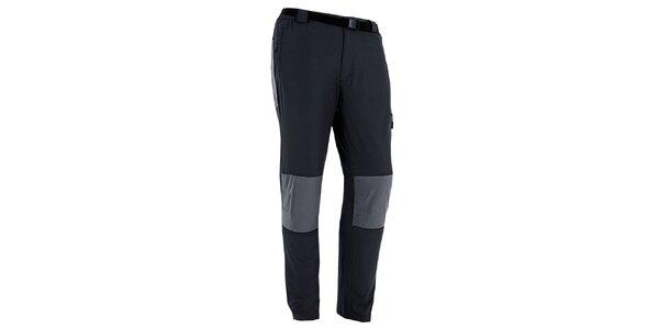 Pánské černo-šedé outdoorové kalhoty s páskem Izas