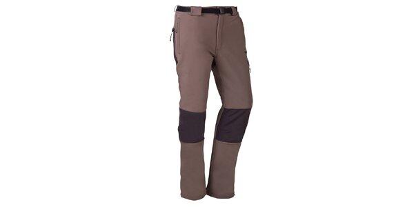 Pánské hnědo-šedé outdoorové kalhoty s páskem Izas
