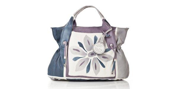 Dámská modro-fialovo-šedá kožená kabelka do ruky Gianni Conti