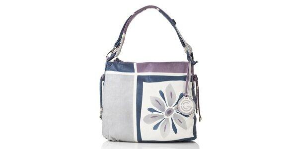 Dámská modro-fialovo-šedá kožená kabelka s květinou Gianni Conti