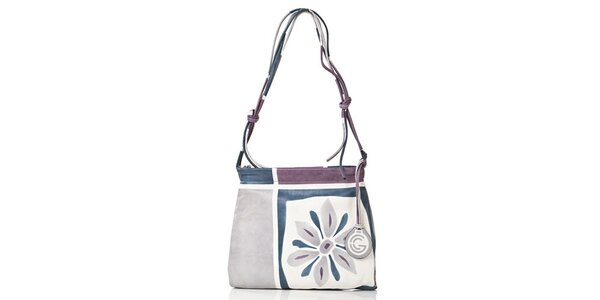Dámská modrá kabelka s květinou Gianni Conti