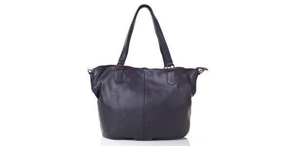 Dámská černé kožená kabelka s popruhem Gianni Conti