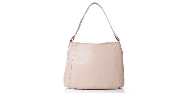 Dámská krémová kožená kabelka s vnější kapsičkou Gianni Conti