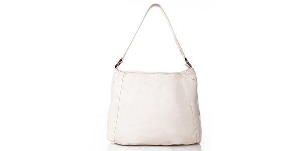 Dámská béžová kožená kabelka s vnější kapsičkou Gianni Conti