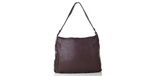 Dámská tmavě hnědá kožená kabelka s vnější kapsičkou Gianni Conti