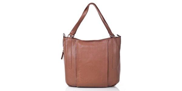 Dámská hnědá kožená kabelka s odnímatelným popruhem Gianni Conti