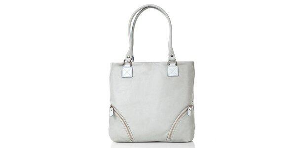 Dámská světle šedá kožená kabelka s vnější kapsou Gianni Conti