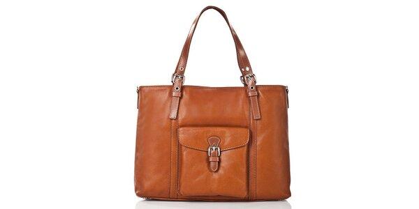 Dámská hnědá kožená kabelka s vnější klopovou kapsou Gianni Conti