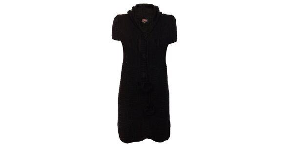 Dámské černé pletené šaty Yumi s kapucí a bambulkami